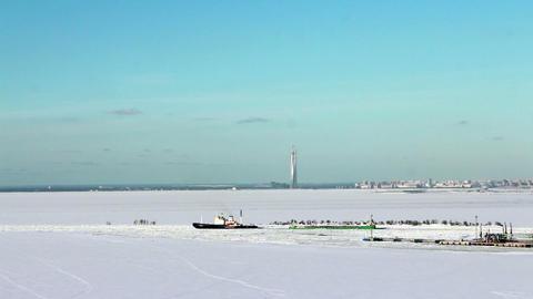Icebreaker goes through an ice field Footage