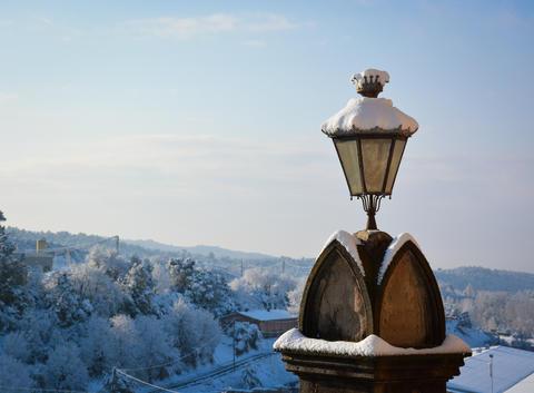 Vintage and Retro Snowed Lamp Photo