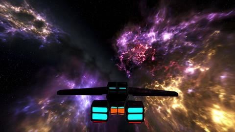 4K Spaceship Flying in Nebula in Galaxy Outer Space 3D Animation 1 Animation