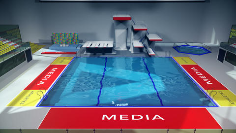 Diving Pool Arena Complex Cinematic Dolly 3D Animation 2 GIF