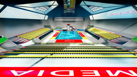 Diving Pool Arena Complex Wide Cinematic Dolly 3D Animation 3 Animation