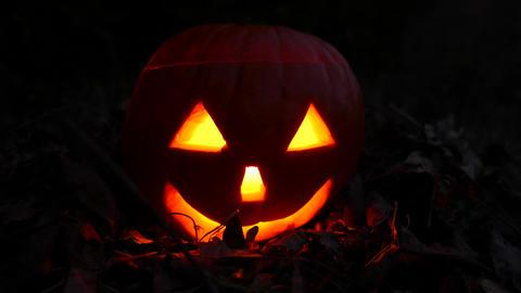 4K Jack o Lantern Halloween Pumpkin Head at Night 1 Footage