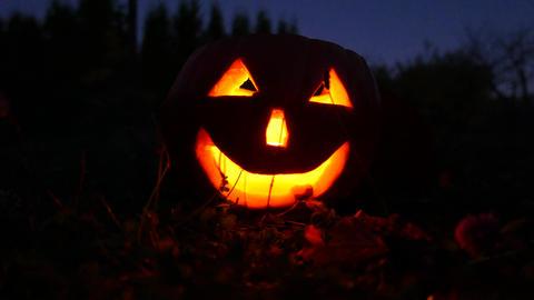 4K Jack o Lantern Halloween Pumpkin Head at Night 5 Footage