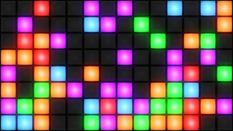 Colorful Disco nightclub dance floor wall glowing light grid background vj loop 애니메이션