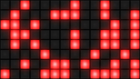 Red Disco nightclub dance floor wall glowing light grid background vj loop Animación