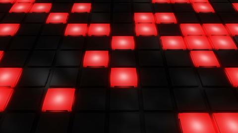 Red Disco nightclub dance floor wall glowing light grid…, Stock Animation
