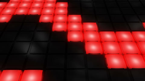 Red Disco nightclub dance floor wall glowing light grid... Stock Video Footage