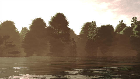4K High Current River Flood Forest in the Sunset Cinematic 3D Animation 2 Animation