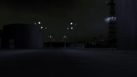 4K Oil Pumping Station and Factory at Night 3D Animation 2 Animation