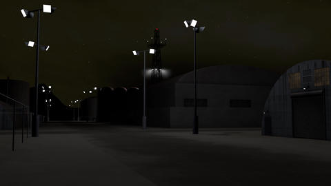 4K Outpost Military Barracks at Night 3D Animation 1 Animation