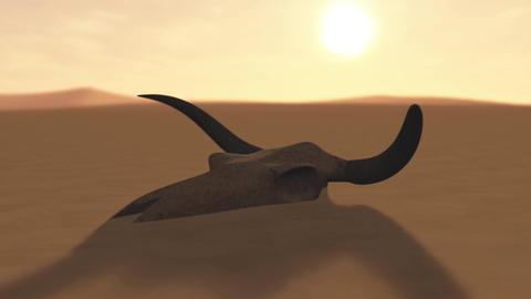 Bull Skull in Desert Global Warming Poaching Concept 3D Animation 3 Animation