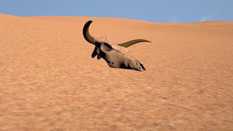 Bull Skull in Desert Global Warming Poaching Concept 3D Animation 6 Animation