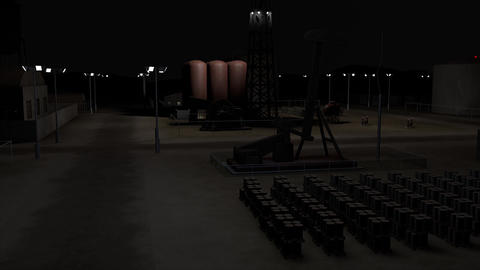Oil Pumping Station and Factory at Night 3D Animation 5 Animation