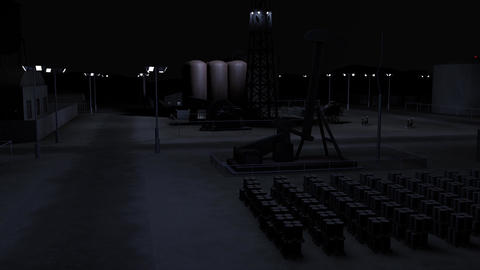 Oil Pumping Station and Factory at Night 3D Animation 6 Animation