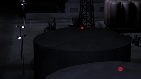 Outpost Factory at Night 3D Animation 2 Animation