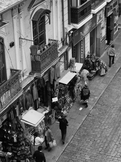 Bird´s eye view fo shops on the streets of La Paz, Bolivia Photo