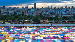 Multi-colored tents /Sales of second-hand market in Bangkok GIF