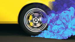 Bright yellow muscle car performs a rear wheel burnout with colorful smoke Animation