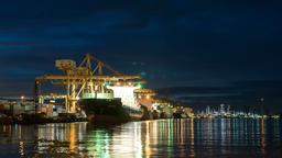 Bangkok, Thailand, June 22, 2017.Cargo ship moving load at port GIF