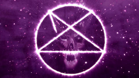 4K Pentagram Symbol with Revealing Satan Face 5 Animation