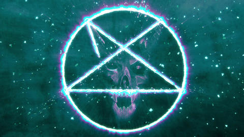 4K Pentagram Symbol with Revealing Satan Face 10 Animation