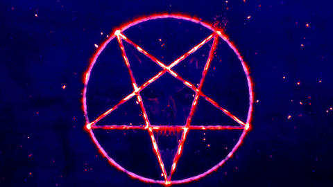 4K Pentagram Symbol with Revealing Satan Face 7 Animation