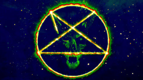 4K Pentagram Symbol with Revealing Satan Face 12 Animation