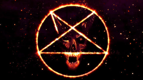4K Pentagram Symbol with Revealing Satan Face 19 Animation