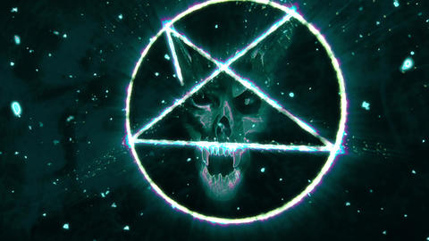 4K Pentagram Symbol with Revealing Satan Face v2 10 Animation