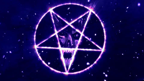 4K Pentagram Symbol with Revealing Satan Face v2 14 Animation