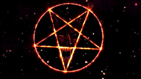 4K Pentagram Symbol with Revealing Satan Face v2 19 Animation
