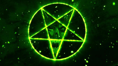 4K Pentagram Symbol with Revealing Satan Face v2 3 Animation