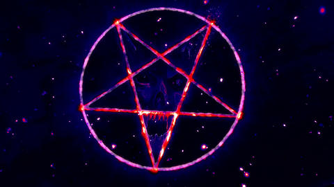 4K Pentagram Symbol with Revealing Satan Face v2 6 Animation