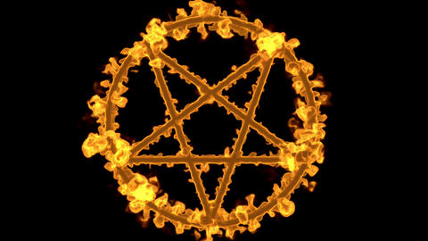 4K Pentagram on Fire Magic Symbol with Matte 3D Animation 1 Animation