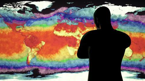 4K Man Watching Earth Landmass and Water Surface Global Warming Simulation 2 Animation