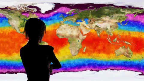 4K Woman Watching Death of Earth Global Warming Simulation Animation