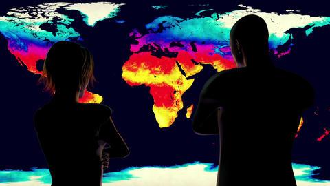 4K Woman and Man Watching Earth Landmass Global Warming Simulation Animation