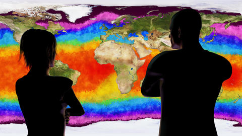 4K Woman and Man Watching Earth Water Surface Global Warming Simulation Animation