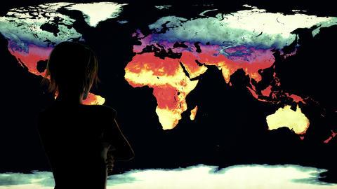4K Woman Watching Earth Landmass Global Warming Simulation 2 Animation
