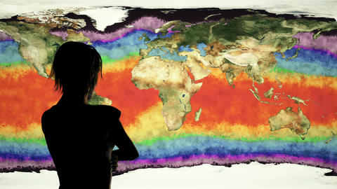 4K Woman Watching Earth Water Surface Global Warming Simulation 2 Animation