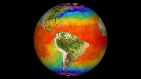 Earth Water Surface Global Warming Simulation with Matte Animation