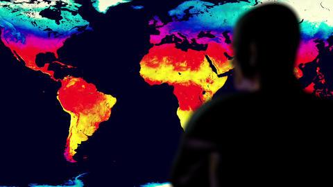 Man Watching Earth Landmass Global Warming Simulation Cinematic Rack Focus Animation
