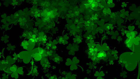 Background with bright leaved greenery clover and shamrock on black, 3d フォト