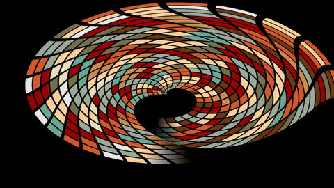 Abstract tiled multicolored shape with tunnel effect on black background. FullHD Animation