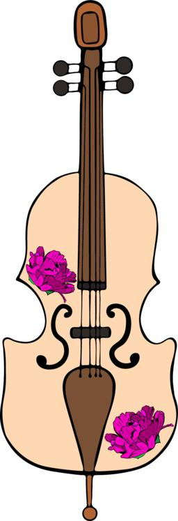 hand-drawn cello with purple peonies Vector