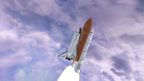Realistic 3D Animation of Space Shuttle Launching over earths atmosphere Archivo