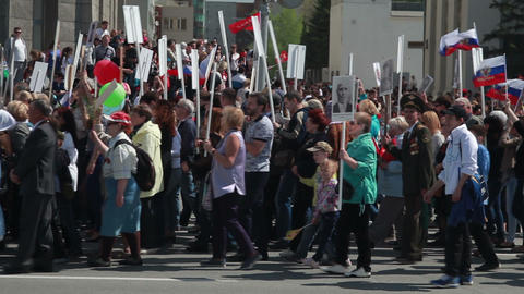 Victory Parade. Immortal Regiment. May 9 Footage