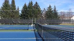 Tennis ball flying across the net