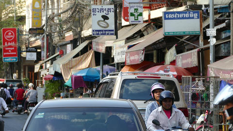 Busy street scene downtown Phnom Penh Footage