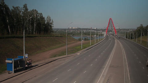 Metropolis. the movement of cars in the big city. cable-stayed bridge Footage
